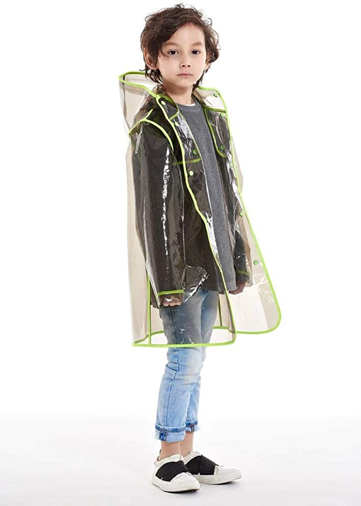 Yuding Big Boys and Big Girls Waterproof Transparent Eva Rain Jacket