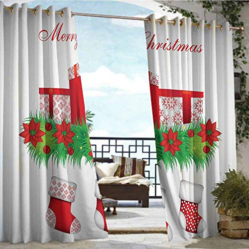 - Qenuan Outdoor Patio Curtain Pergola Curtain,Christmas,Stockings Hanging for Santa Mistletoe Illustration Merry Christmas for All,Red Emerald White,Scenery for Porch&Beach&Patio 63