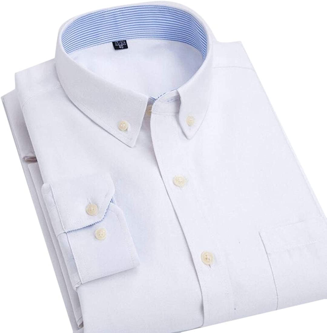 Alion Men Business Long Sleeve Oxford Shirt Button Down Collar Dress Shirts