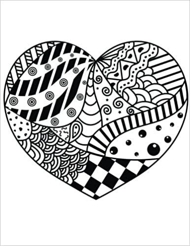 Blank Book Journal: Heart Zentangle Cover Diary Notebook: 8.5 x 11 size 120 lined pages!