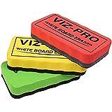 VIZ-PRO Magnetic White Board Eraser, 3 Colored Eraser, 3 Piece