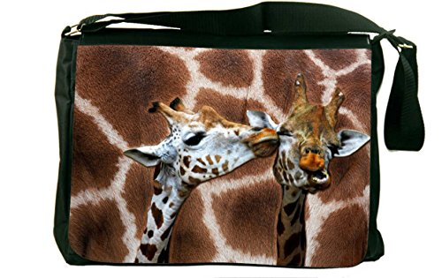 Rikki Knight Giraffe Kissing on Giraffe Print Messenger Bag School Bag