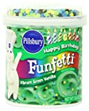Pillsbury Vanilla Frosting, Funfetti Vibrant Green, 15.6 Ounce (Pack of 8)