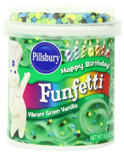 Make Gluten Free St. Patrick's Day Pot Of Gold Filled Cupcakes with Pillsbury Vanilla Frosting, Funfetti Vibrant Green, 15.6 Ounce (Pack of 8)