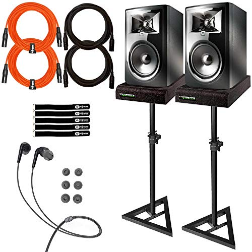 "JBL 306P MkII 6.5"" Powered Studio Reference Monitor Speakers Pair w Stands Pack"