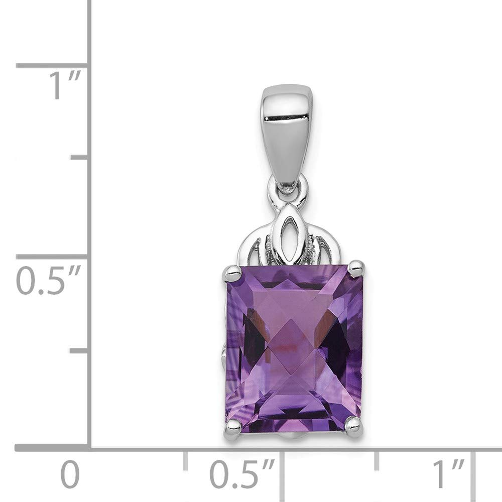 FB Jewels Solid 925 Sterling Silver Rhodium-Plated Amethyst Pendant