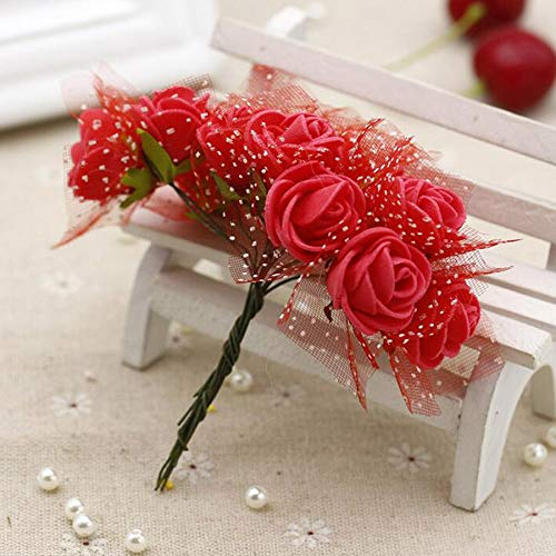 BIG-DEAL_144pcs Artificial Mini Foam Flowers Rose Tulle red DIY Gift Box Craft Paper Scrapbooking Flowers Decoration Bouquet Wreath - (Color:red) -