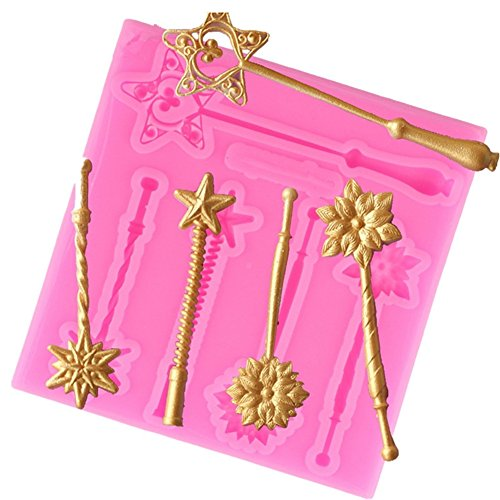 Creative Five-pointed Star Magic Wand Shape Silicone Mold for Cake Chocolate Fondant Baking Biscuit Cookies Soap DIY Ice Cube Tray Decorating Tools ( Pack of 2 ) (Wand Cookie)