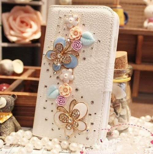 Luxury 3D Fashion Bling Diamond Bow PU Flip Wallet Leather Case Cover For Smart Mobile Phones(Fancy Butterfly , Apple iPhone 6 Plus)