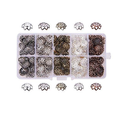Antique Caps Copper Bead - Pandahall 1 Box (about 525pcs) 9x4mm Mixed Color Iron Flower Bead Caps, 10g/compartment