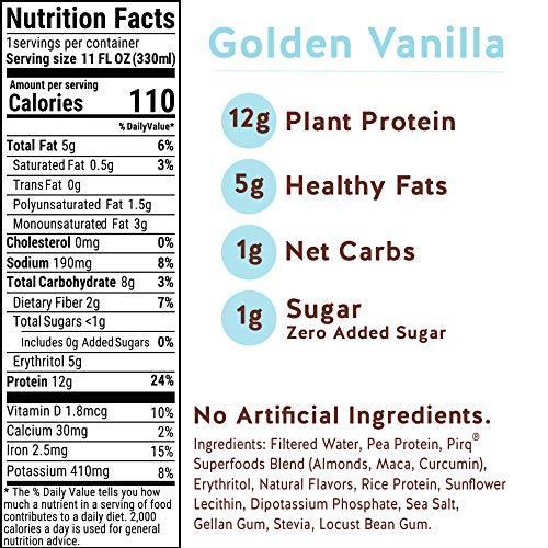 Pirq, Vegan Protein Shake, Turmeric Curcumin, Maca, Plant-Based Protein Drink, Gluten-Free, Dairy-Free, Soy-Free, Non-GMO, Vegetarian, Kosher, Keto, Low Carb, Low Calorie (Golden Vanilla, 12 Pack) 3
