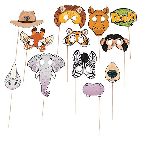 Fun Express - Zoo Animal Photo Stick Prop for Birthday - Apparel Accessories - Costume Accessories - Costume Props - Birthday - 12 Pieces