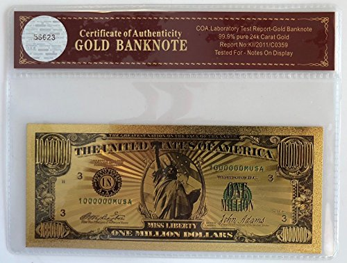 Unbranded $1 Million Dollar Bill... 24K Gold 3D Overlay...Banknote..with COA