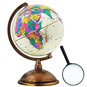 World Globe - Antique in Style Earth Desktop Globe - 12 Inch (32cm) with Magnifying Glass