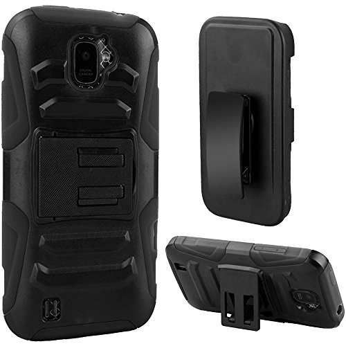 2Layer Ruggged Case Cover w/Holster Belt Clip for ZTE Citrine LTE 4G [Model: Z716 Z716G Z716BL Z717VL] Phone (Full Black) - Citrine Clip