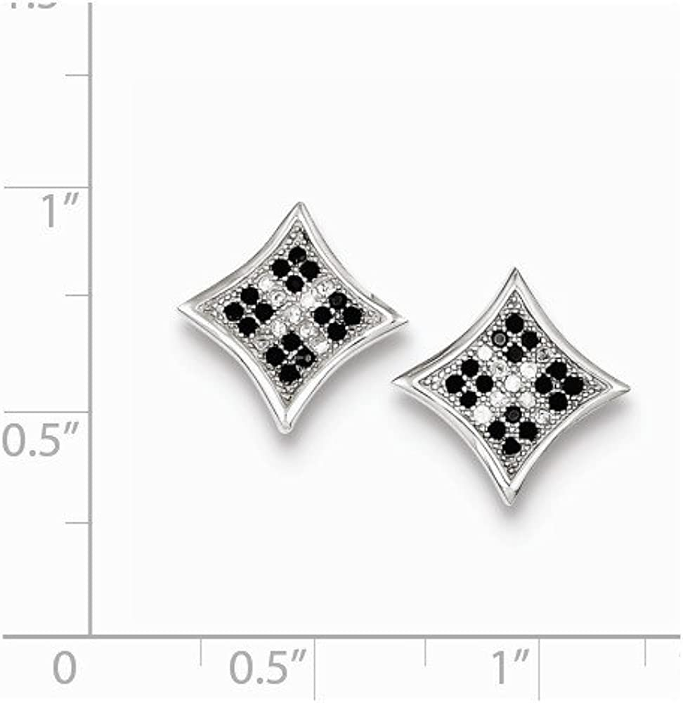 Sterling Silver Rhodium-plated Black /& White CZ Pav Princess Square Post Earrings
