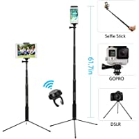 "61"" Bluetooth Selfie Stick Tripod with Remote for iPhone X 8 Plus 7 Plus 6S Plus Samsung Galaxy S8 S7 iPad Gopro, Moreslan 3 in 1 Extendable Monopod Tripod Stand for SLR Camera 360° Rotation"