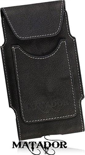 Matador Nubuk Echt Leder Tasche iPhone 8 Handytasche Gürteltasche Vertikaltasche Crazy Black mit Gürtelschlaufe EC./Kreditkartenfach