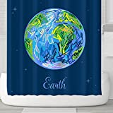 Orange Design Earth and Stars Shower Curtain with Hooks 71''x71'' Space Planet Universe Solar System, Waterproof Meldew Resistant Fabric No Liner Needed Kids Children Bathroom Gift Decor