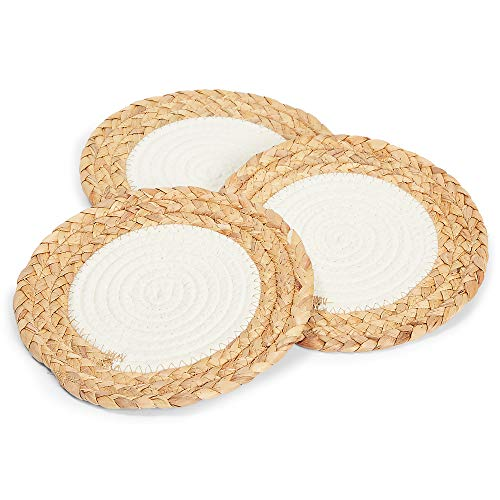 Woven Trivets for Hot Dishes, Kitchen Set in 2 Colors (8 Inches, 3 Pack)