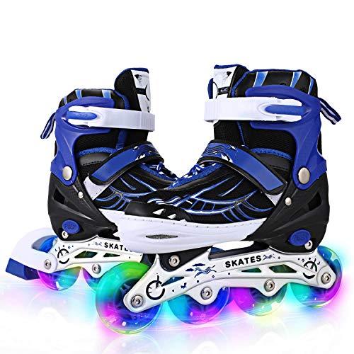 ANCHEER Kids Inline Skates Blue Adjustable Women Men Roller Skates for Girls Boys Size 5 7 4 Aggressive Urban Skates