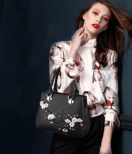 NICOLE&DORIS Moda Casual Elegante Bolsos de Mano Totes para Mujer Monederos Mujer Bolso Commuter Bandolera Impermeable Durable Suave PU Vino Tinto Negro