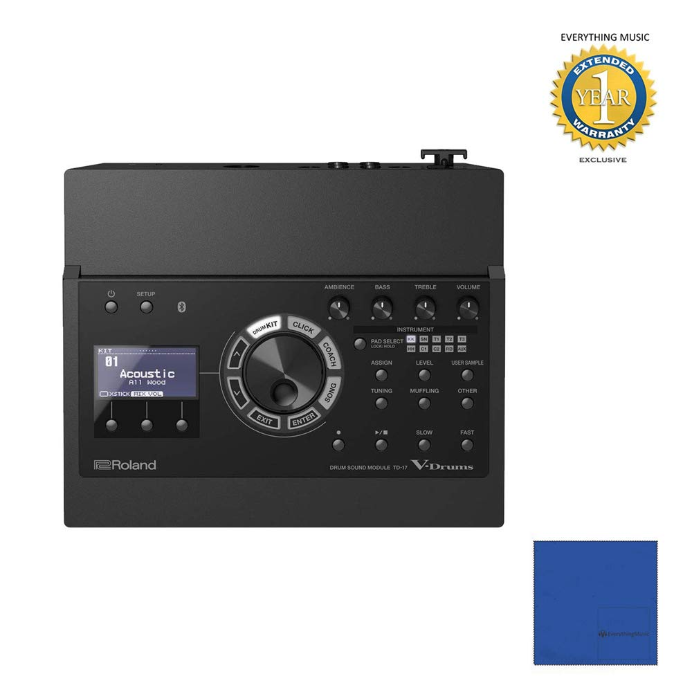 Roland Electronic Drum Module (TD-17) with Microfiber and 1 Year Everything Music Extended Warranty by Roland