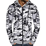 iZHH Men's Autumn Camouflage Print Zipper Hooded Sweatshirt Outwear Blouse(White,US-XL)