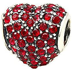 Babao Jewelry Sparkling Sweet Heart Valentine's Day Gifts Idea Ruby Red CZ Crystal 925 Sterling Silver Bead fit Pandora Style European Charm Bracelets