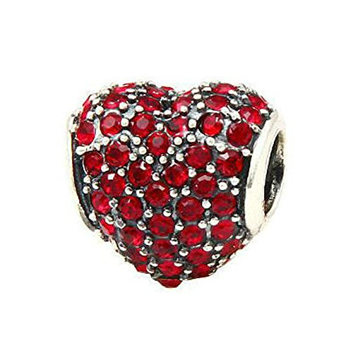 Babao Jewelry Sparkling Sweet Heart Ruby Red CZ Crystal 925 Sterling Silver Bead fit Pandora Style European Charm Bracelets