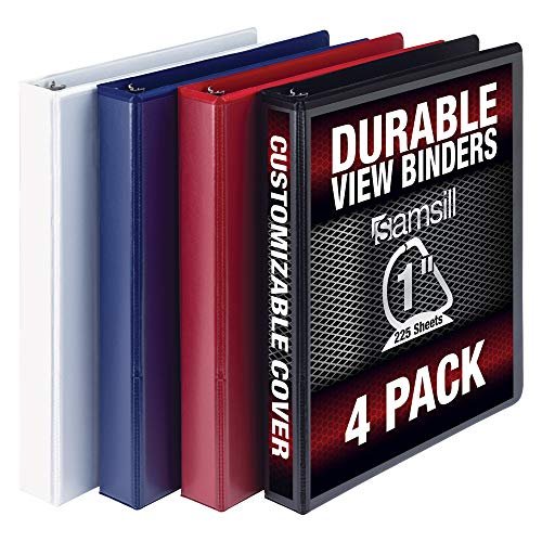 Samsill Durable 3 Ring View Binders, 1 Inch D-Ring - Holds 250 Sheets, PVC-Free/Non-Stick Customizable Cover, Black, White, Blue, Red, 4 Pack (3 Ring Binder 1 Inch Blue)
