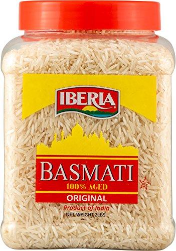 (Iberia Basmati Rice Jar, 2 Pounds, Extra Long Grain, Naturally Aged Indian White Basmati Rice, Natural Basmati Rice in Food Grade)