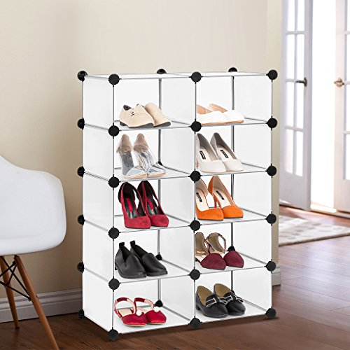 LANGRIA Modular Cube Storage Cube Organizer DIY Plastic Closet Shelf 10-Cube Bookcase Cabinet White (Building Closet A In Shelves)