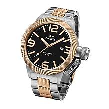 TW Steel CB136 Men's Canteen Bracelet Automatic Black Dial Two Tone Rose Gold Steel Watch
