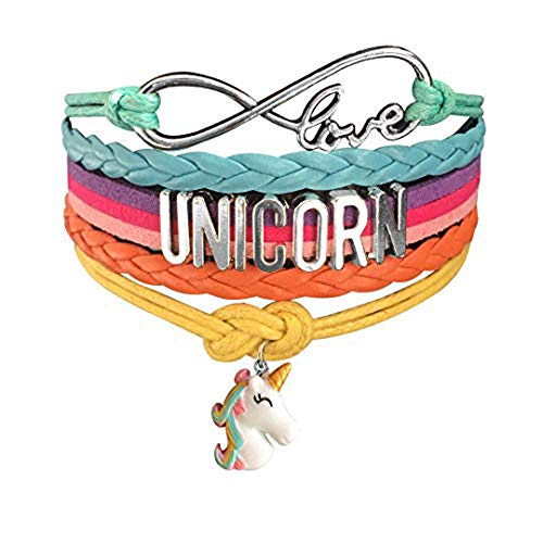 (Ac Union Cute Unicorn Infinity Love Charm Wristband Handmade Leather Bracelet Gift for Gril)