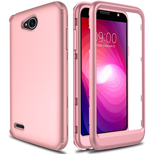 LG X Charge Case, LG Fiesta 2 Case, LG Fiesta LTE Case, AMENQ [Impact Resistant] Hybrid Heavy Duty Shockproof Protective Rugged Armor Case Cover for LG K10 Power/LG L63BL/ LG L64VL (Rose Gold
