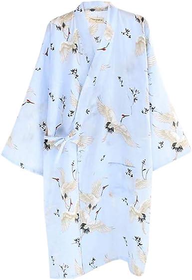 ECHERY Las Mujeres de Verano de Algodón Kimono Batas Floral Ropa de Dormir Pijamas de Khan al Vapor Albornoz Yukata Verde: Amazon.es: Ropa y accesorios