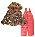 Hello Kitty Baby Girls Infant 2pc Printed Snowsuit, Multi Leopard 24M