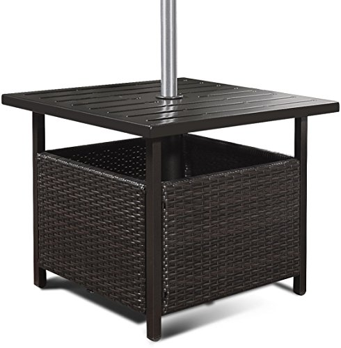 TG888 Brown Rattan Wicker Steel Side Table with Umbrella Hole Outdoor Furniture Deck Garden Patio Pool
