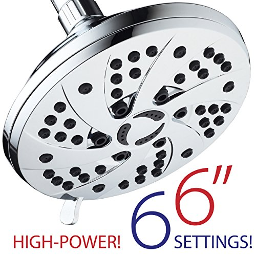 High Pressure 6-inch / 6-Setting Premium Rain Shower Head by AquaDance for the Ultimate Shower Spa Experience! Officially Independently Tested to Meet Strict US Quality & Performance Standards!