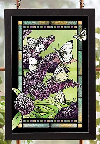 Darby Creek Trading Lilacs & Butterflies on a Summer Day Stained Glass Art Hanging Panel