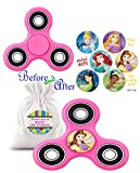 Girl's Pink Fidget Spinner with Disney Princess Assorted Stickers Featuring Belle From Beauty and the Beast! Plus Bonus Drawstring Carry Case!