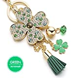 Lucky Four Leaves Clover Crystal Key Ring Chains Holder Tassel Bag Buckle Pendant For Car Keyrings Keychains Green