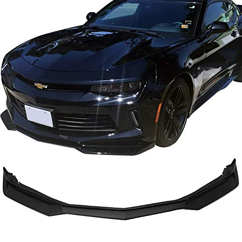 Front Bumper Lip Fits 2016-2018 Chevy Camaro | ZL1 Style Unpainted Raw Material Black PP Front Lip Finisher Under Chin Spoiler Add On by IKON MOTORSPORTS | 2017