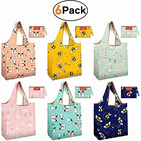 Reusable Shopping Bags 6 Pack Foldable Eco-Friendly Large Groceries Tote Bag with Pouch Washable Sturdy Lightweight Grocery Bags Animal Theme