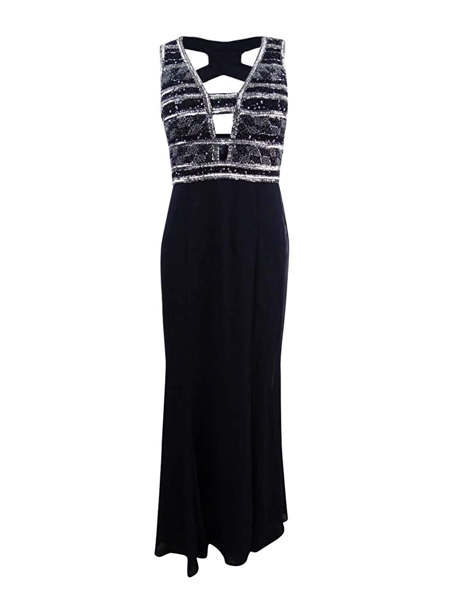 Adrianna Papell Womens Sleevless Long Beaded Plunge V Neck Gown