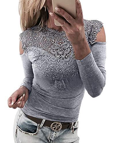 lace insert blouse - 6
