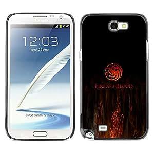 // PHONE CASE GIFT // Duro Estuche protector PC Cáscara Plástico Carcasa Funda Hard Protective Case for Samsung Note 2 N7100 / Fuego y sangre /