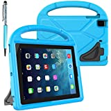 FineGood Protective Case Compatible with Apple iPad Mini 1 2 3 4 Tablet, Convertible Light Weight Shock Proof EVA Cover Kids Case with Carrying Handle & Stand, with Stylus Ball Point Pen - Blue