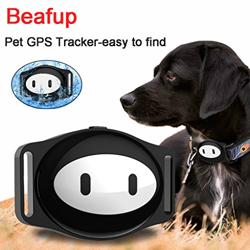 Beafup Pet GPS Collar Tracker, Waterproof Real Time Locator Anti-loss GPS Tracking Device for Dogs and Cats